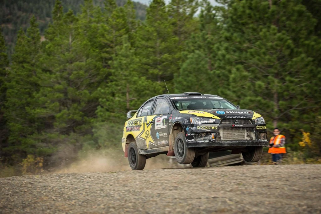 Antoine L'Estage and Craig Parry drive their Mitsubishi Lancer EvoX to victory at the 2013 Pacific Forest Rally. CRC Photo.