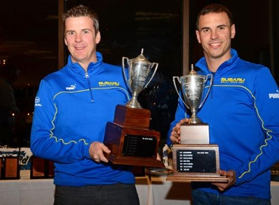 David Higgins & Craig Drew claimed their third Rally America Championship in a row for Subaru Rally Team USA. The top three teams were all WRX STI's prepared by Vermont SportsCar. Photo courtesy Subaru