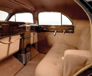 "The bespoke interior of the 1941 Cadillac Custom Limousine ""The Duchess""."