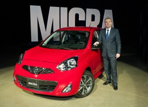 Christian Meunier, president of Nissan Canada with a 2015 Nissan Micra.