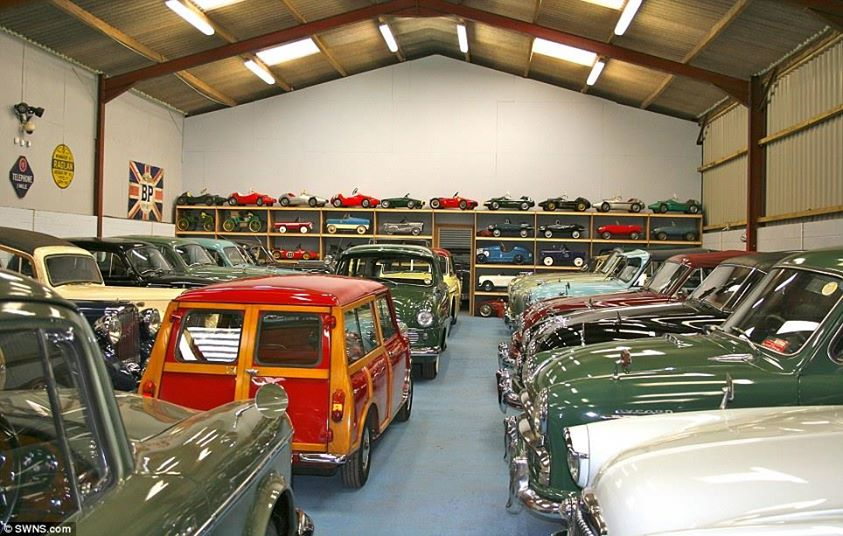 As well as full-size motors, the 450-car collection includes more than 300 miniature pedal cars, as well as a Sinclair C5 from the 1980s.