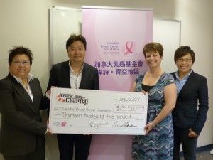 Track Day for Charity Steering Committee Chair, (from left) Regina Chan, and vice-chair, Pius Chan, presented the donation to Canadian Breast Cancer Foundation's senior manager, Jennifer Atkinson and Chinese Community Ambassador, Claudia Lau.
