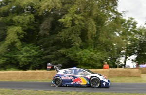 Sebastien Loeb, driving a Peugeot 208 T16,  wins the Sunday shoot-out to end the event as its fastest driver.