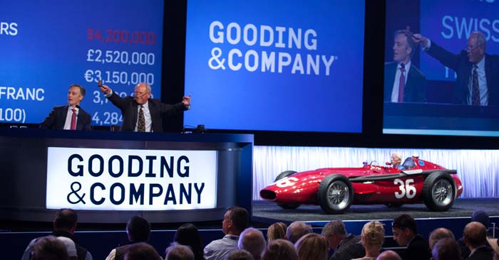 1956 Maserati 250F (sold for $4,620,000, a new world auction record) Image copyright and courtesy of Gooding & Company.  Photo by Jensen Sutta.