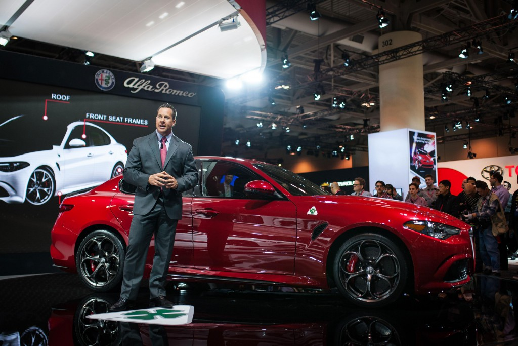 Reid Bigland, Head of Alfa Romeo North America, unveils the 2017 Alfa Romeo Giulia Quadrifoglio to Canada for the first time at the 2016 Canadian International Auto Show.
