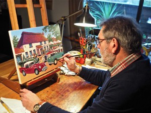 ABFM artist in residence Michael Stockdale at work putting the final touches on this year commissioned official awards painting, Saturday Lunch at The Old Crow.