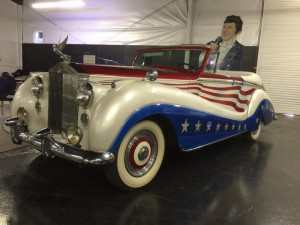 Red, white and blue Rolls convertible, which Liberace flew via high wire cables celebrating America's Bicentennial. Photo courtesy of The Liberace Foundation.