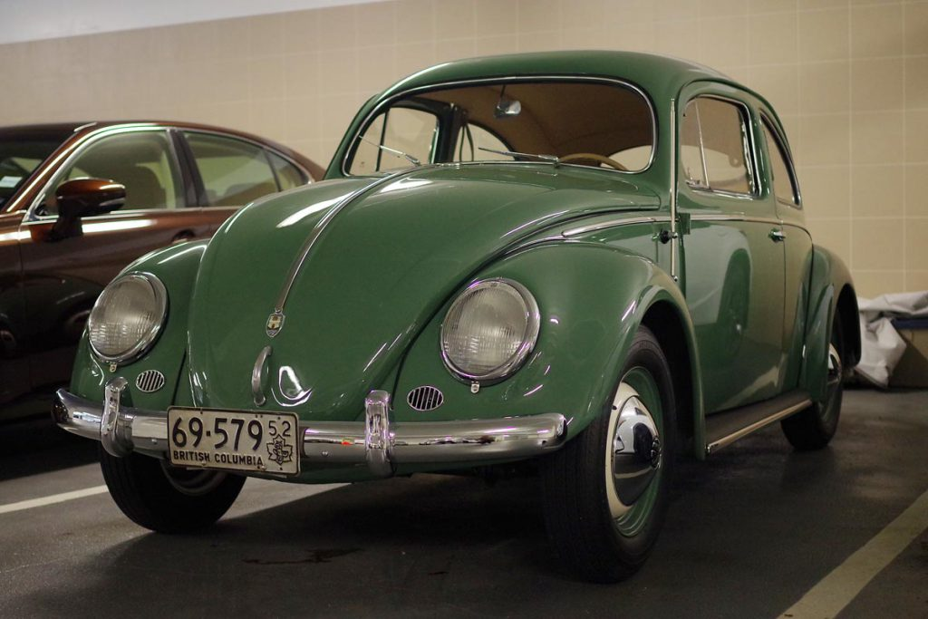 "his pristine 1952 Volkswagen ""Zwitter"" Beetle was one of the first of its kind to be imported into Canada. Photo by Benjamin Yong."