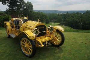 A 1912 Hudson Mile-a-Minute Speedster sits perched on the first tee overlooking the Hudson River at the Ardsley Country Club in Dobbs Ferry, NY. Photo: Devin Young
