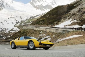 Lamborghini Miura on Passo del Grand San Bernardo, the route used in the film The Italian Job.
