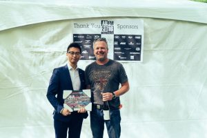 Paul Yang (left) of MCL Motor Cars presents Oliver Young with the Entrants Choice Overall Award for his 1935 Alvis Spped 25 Brooklands Custom.