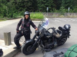 A Harley rider that has ratched up almost 160,000 kilometres on her bike. Photo: Jeremy Stewart