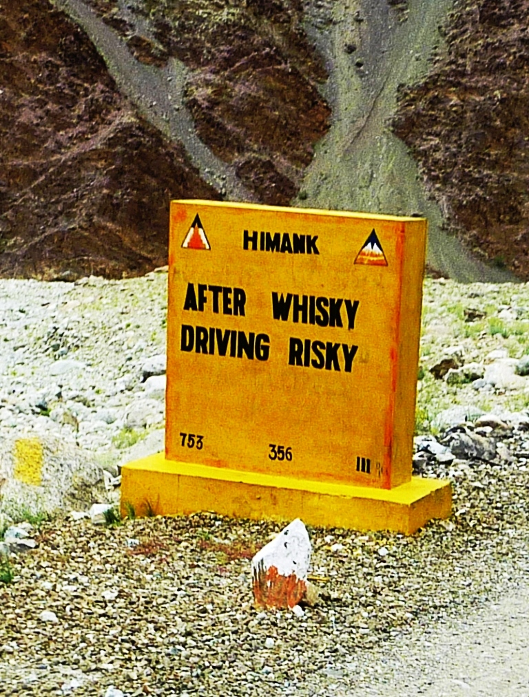 Warning of the dangers of driving and drinking in Himachal Pradesh, India. Photo: John Hill.