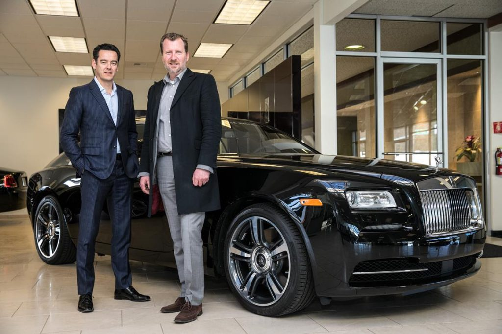 Christian Chia, President & CEO of OpenRoad Auto Group (left) and Mark Maakestad, General Manager of Bentley, Lamborghini and Rolls-Royce Motor Cars Bellevue.