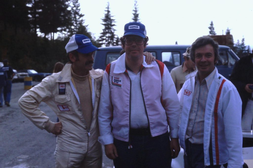 Morris Calvert (far right) at Westwood in 1979 with drivers Bryan Evans and Tom Johnston, who won a national championship in one of Johnston's cars.