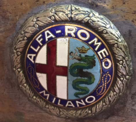 Badge on a 1930s Alfa Romeo. Photo: Joan Stewart.