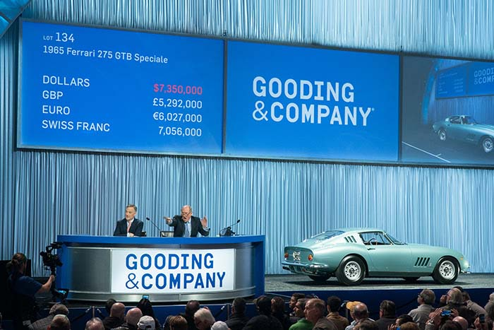 President David Gooding and Auctioneer Charlie Ross sell the 1965 Ferrari 275 GTB Speciale for a record price of $8,085,000. Image copyright and courtesy of Gooding & Company. Photo by Jensen Sutta.