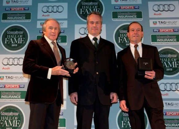 (left to right) Sir Jackie Stewart, Clive Chapman and Jackie Oliver at the February 25, 2013, Motor Sport Magazine event.
