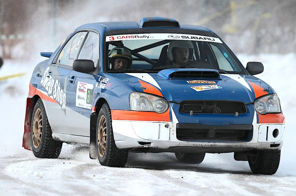 Maxime Labrie and Robert Labrie winners of the 2016 Rallye Perce Neige. Photo courtesy CRC.