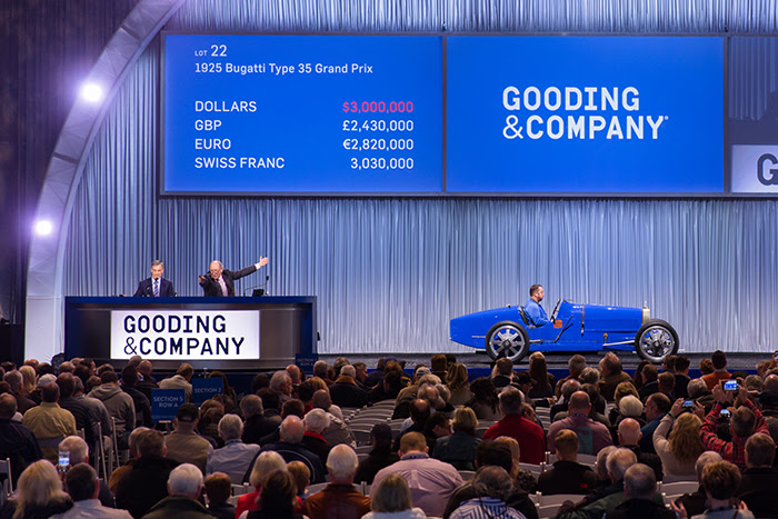 L-R: President David Gooding and auctioneer Charlie Ross sell a 1925 Bugatti Type 35 Grand Prix for a record price of $3,300,000.  Image copyright and courtesy of Gooding & Company. Photo by Mike Maez.