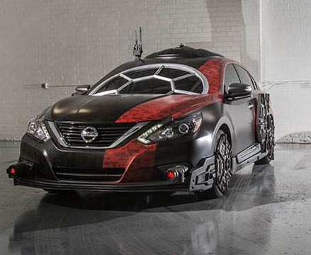 2018 Nissan Altima – Special Forces TIE Fighter: The Special Forces TIE Fighter is recreated using Nissan's best-selling sedan, Altima. The vehicle's stand-out feature is the cockpit window that brings the multi-paned look of the Special Forces TIE fighter to the Altima's windshield. Photo: courtesy Nissan.