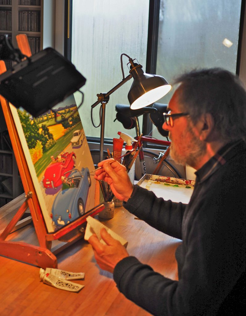 "Vancouver painter Michael Stockdale puts the finishing touches on this year's official poster artwork entitled ""Going to the Show."""