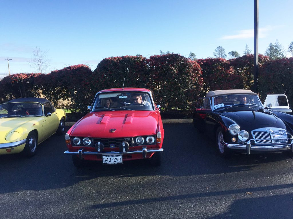 Lotus, Rover and MGA get ready for the start of the Tony Cox Memorial Run, January 1, 2020.