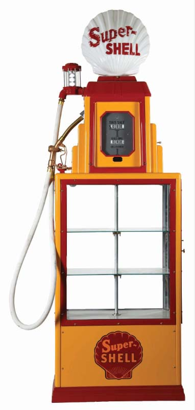 Expertly restored 'Wayne 50' illuminating showcase gas pump with Super Shell one-piece cast globe, Shell side decals, and glass shelving. Sold near the top of its estimate range for $17,220