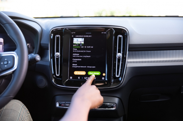 Volvo's In-car app provides seamless charging in Volvo electric and plug-in hybrid cars with Google Android Automotive OS.