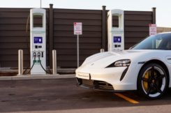 2021 Porsche Taycan first EV to use the innovative payment system on Electrify Canada network. Photo courtesy Electrify Canada/Porsche