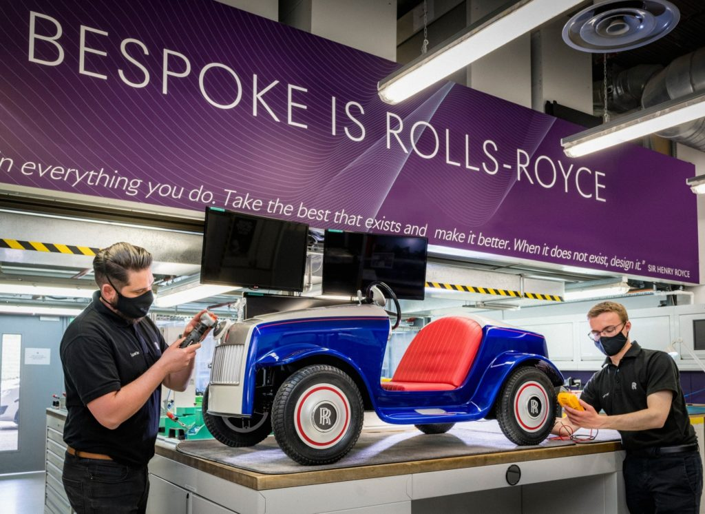Rolls-Royce Motor Cars carries out service on Rolls-Royce SRH electric car.